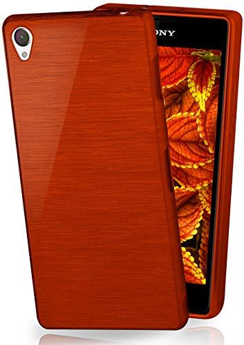MoEx® Cover in Silicone Compatibile con Sony Xperia Z2 | Effetto Alluminio Spazzolato, Rosso Vinaccia