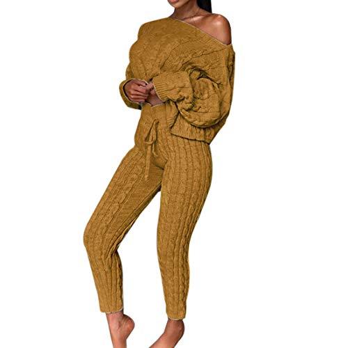 Dihope Damen 2 Stück Strickanzug Bekleidung Set Outfits aus Langarm Schulterfrei Strickpullover und Paket Hüfte Hosen Beiläufig Outfit Freizeitanzug Sportanzug Loungewear Pullover Suit