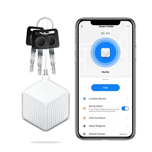 Navidue Schlüsselfinder, Bluetooth Key Finder, 1 Jahr Batterielaufzeit, Smart GPS Tracker mit iOS/Android App, Telefonschlüssel Alarm Reminder für Katzen, Taschen, Schlüssel, Gepäck(Aktualisiert 2021)