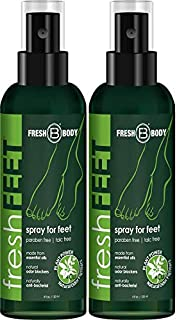 FRESH FEET by Fresh Body 4 oz Spray by the trusted Creator of Fresh Balls! Natural Anti-Bacterial Odor Fighting Protection Spray with Essential Oils for Feet & Shoes! (2 Pack)