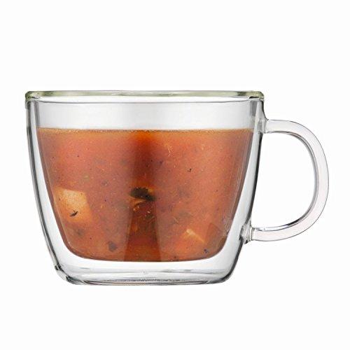 Bodum Bistro - 2 piece café latte cup with Double Wall - Transparent Glass - 0.45l/15oz