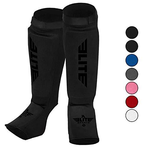 Elite Sports Muay Thai MMA Kickboxing shin Guards, Instep Guard Sparring Protective Leg shin Kick Pads for Kids and Adults (S-M, Black/Black)