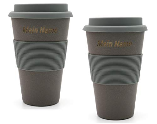BambooYou Magu - Juego de 2 tazas de café para llevar con nombre de bambú, grabado láser 465, pizarra