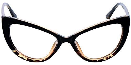SOOLALA Womens Oversized Fashion Cat Eye Eyeglasses Frame Large Reading Glasses (Leopard, 2.75)