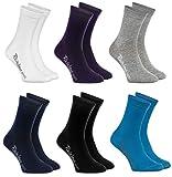 Rainbow Socks - Niños y Niñas - Calcetines de Algodón - 6 Pares - Blanco Violeta Gris Azul Marino Negro Jean - Talla 30-35