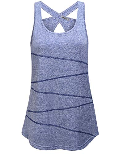 MOQIVGI Sportwear for Women,Chic Ventilated Cool Swing Workout Tee Tank Sleeveless U Neck High Intensity Fitness Athletic Shirts Comfortable Practice Training Eeveryday Tops Heathered Blue X-Large