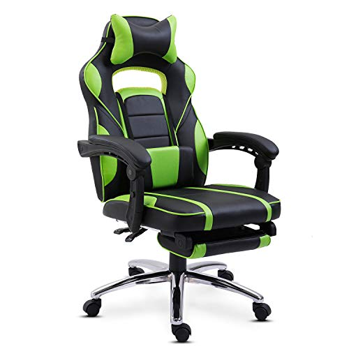 Gaming Chair with Footrest Home Office Chair Executive Leather Computer Desk Chair for Bedroom High Back Sport Racing Chair with Armrest&Headrest,Gaming Chair for Boys and girls (Green)