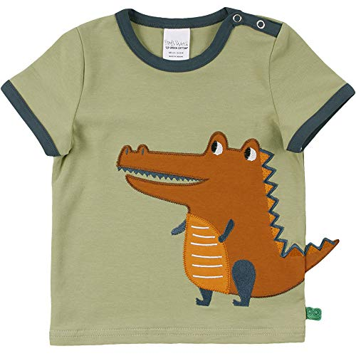 Fred's World by Green Cotton Baby Jungen Hello Crocodile s/s T-Shirt, Green Moss, 86