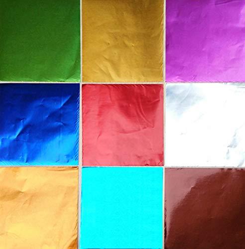 Nicejoy Praline Verpackung Aluminiumfolie Verpackung Süßigkeit Aluminiumfolie 9-Farbe Praline Einwickelpapier Benutzt Für DIY Süßigkeiten Verpackung Dekoration 900pcs