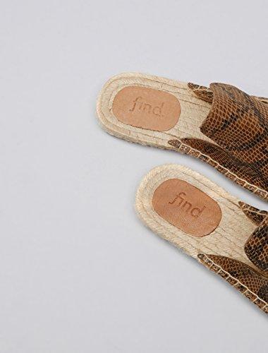 FIND Slippers Damen Espadrille-Design, Mehrfarbig (Snake) - 5