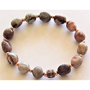 Mexican Laguna Lace Agate Stretch Gemstone Bracelet - 7 inches