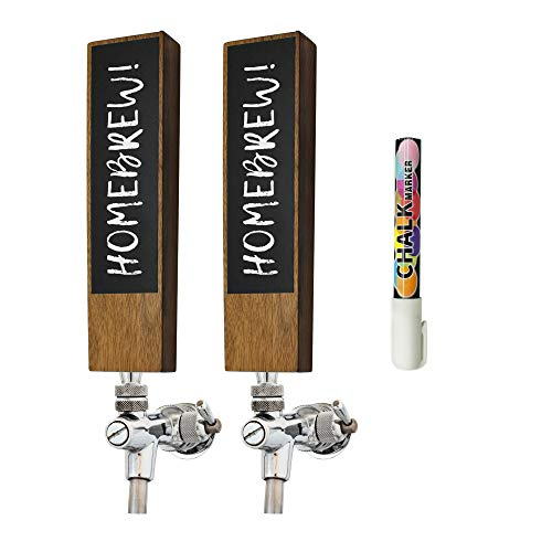 Chalkboard Beer Tap Handle (2 Pack) For Homebrew Kegerators | Beer Tap Handles White Chalk Marker Included! | The Perfect Gift for Him | THE Tap Handle to never forget which beer you crafted again!