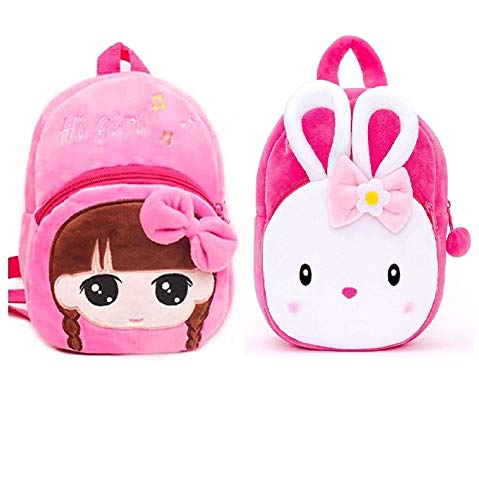 FASNO Kid's Combo Konggi Rabbit Plush School Bag (Multicolour)