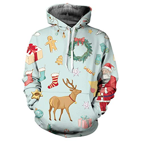 SLYZ Autumn and Winter Men's New Santa Claus 3D Printing Hooded Casual Sweater Jacket Jacket Men