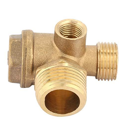 Válvula de retención del compresor de aire, compresor de aire de latón de 3 puertos, herramienta de conector de tubo de válvula de retención con rosca macho, resistencia a la compresión, resistencia a