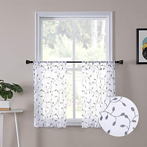 Tollpiz Leaves Short Sheer Tier Curtains Grey Leaf Embroidery Kitchen Half Curtain Rod Pocket Voile Faux Linen Embroidered Leaves Curtains for Bathroom, 30 x 24 inches Long, Set of 2 Panels