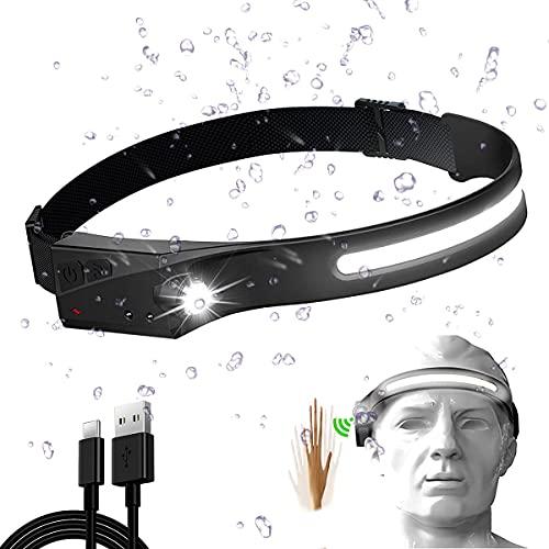 AMZCOM Linterna Frontal COB XPE 2 LED Linterna Cabeza Headlight Recargable USB Impermeable IPX4 Sensor Movimiento Headlamp para Running Acampar Pesca Ciclismo Excursión,1pcs