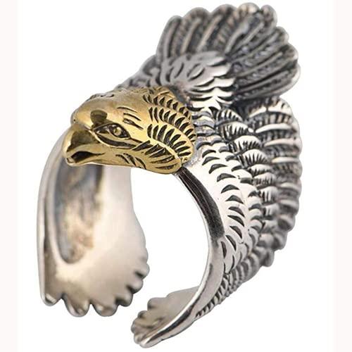 QIERK Anillo magnífico con 925 Sterling Silver 925 Golden Head, Las Damas de los Hombres Ajustan el tamaño