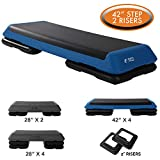 Aerobic Exercise Step Platform by Day 1 Fitness - 40in x 14in HEALTH CLUB SIZE STEP with 2 RISERS - Non-Slip and Shock Absorbing Surface - Premium Gym Equipment and Accessories For Home, Adjustable