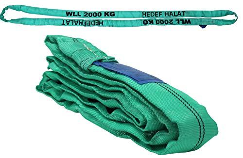 Rundschlinge 2000kg Tragkraft, 8m Umfang, endlos mit Polyesterkern, Hebegurt Hebeband, Grün
