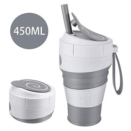 lembrd Opvouwbare mok, silicone beker, opvouwbaar, voor op de camping, op reis, op reis, op kantoor, BPA-vrij, 450 ml