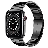 [Upgraded] Wolait Compatible with Apple Watch Band 44mm 42mm , Ultra Thin Solid Stainless Steel Band for Apple iWatch SE Series 6/5/4/3/2/1 Men Women -Black