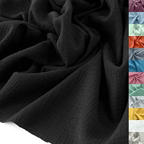 TOLKO Musselin Stoff Meterware   Baby weicher ÖkoTex Baumwollstoff   Kleid Bluse Tuch Decke Tagesdecke Bettwäsche   Double Gauze 130cm breit Nähstoffe Baumwollstoffe uni Dekostoff 50cm (Schwarz)