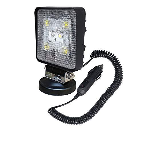 Aufun 15W LED Arbeitsscheinwerfer mit Magnetfuß 12V 24V Zusatzscheinwerfer Offroad Flutlicht IP67 900LM Quadrat Scheinwerfer für Traktor, SUV, ATV, Auto Rückfahrscheinwerfer