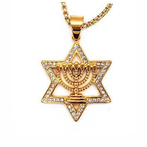 Israel Menorah Judentum Hebräisch Halskette Davidstern Menorah Goldfarbe Religiös Collier