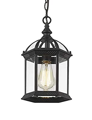 Bestshared Outdoor Pendant Lights, Exterior Hanging Lantern, Outdoor Hanging Lighting Fixture, 1- Light Patio Pendant Lamp, Black Finish with Clear Glass