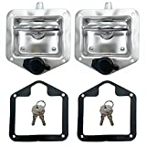 2 Pcs L8815 Tool Box Latch T Handle Latches with Lock Highly Polished Stainless Steel Tool Box Locks for Trailer Door RV Camper Truck Bed Toolboxes - Folding T-handle Latch with Gasket