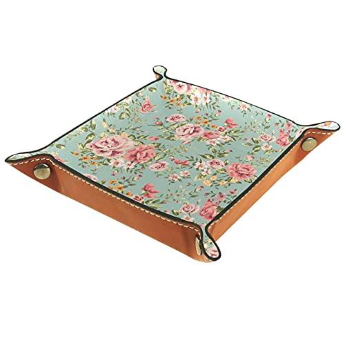 AITAI Valet Tray Veganes Leder Nachttisch Organizer Schreibtisch Storage Plate Catchall Romantische Blume Wall Paper