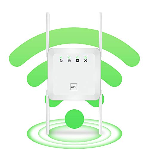 WiFi Range Extender Wireless Signal Repeater Booster, Extend WiFi Signal to Smart Home & Alexa Devices High Resolution Support Desktop Laptop (1200Mbps, White)
