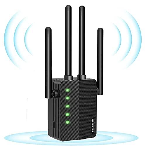 GUHUASHI Ripetitore WiFi Wireless WiFi Extender 1200 Mbit/s, 5GHz Ripetitore Segnale WiFi Casa, Copertura Fino a 200 m², Porta Ethernet, 4 Antenne, Pulsante WPS modalità,Ripetitore/Router/AP