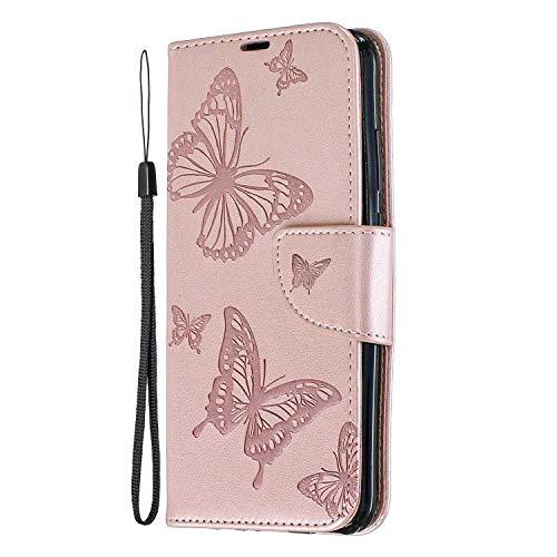 Preisvergleich Produktbild Huawei P Smart 2019 Hülle,  SONWO Schmetterling Blumen Muster Schutzhülle PU Leder Brieftasche Kratzfestes Ledertasche für Huawei P Smart 2019 mit Ständer und Kartenfach,  Pink