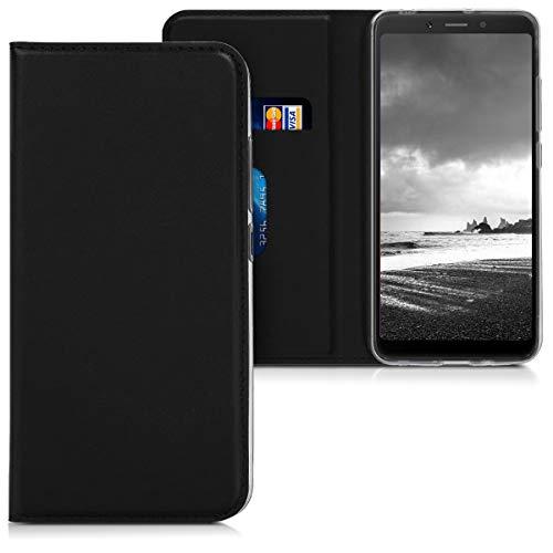 kwmobile Funda Compatible con Xiaomi Redmi 6A - Carcasa de Cuero sintético - Case Plegable en Negro