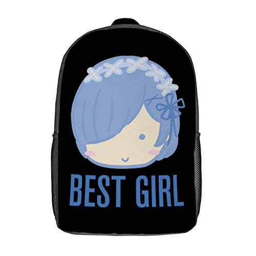 Rem Best Girl 3D Anime School Bag with mesh pocket Unisex Fashion Black bag Travel Laptop Backpack 17 inch