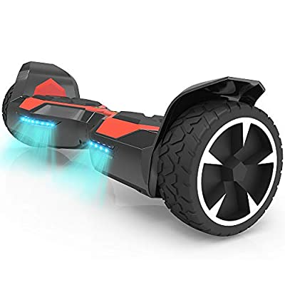 "Hoverboard Two-Wheel Self Balancing Electric Scooter 8"" Hummer Auto Self Balancing Wheel Electric Scooter with Built-in Bluetooth Speaker UL 2272 Certified (Red/Black)"
