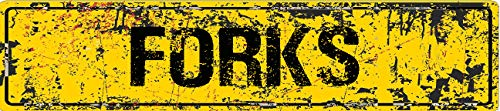 Forks Yellow Grunge Style Rustic Vintage Look 8' Wide Decal Bumper Sticker for use on Any Smooth Surface