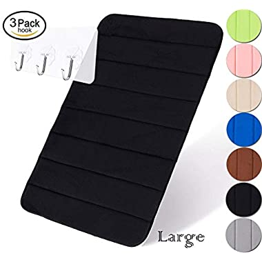 Yimobra Original Memory Foam Bath Mat Large Size 31.5 by 19.8 Inch,Maximum Absorbent,Soft,Comfortable,Non-Slip,Thick,Machine Wash,Easier to Dry for Bathroom Floor Rug,Black (Presented 3 Pack Hooks)
