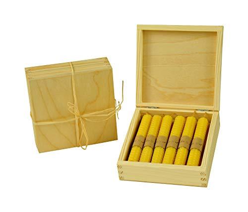 Musehouse, 12 candele in pura cera d'api, arrotolate a mano, in scatola di legno con cera d'api naturale