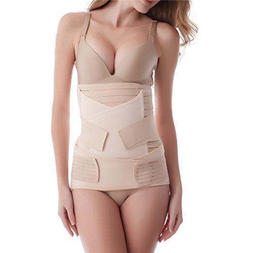 Aigori 3 in 1 bauchgurt nach Geburt Belt für Postpartale Unterstützung Bauch Gürtel Body Shaper Recovery Hohe Elastische nach Geburt (One Size, Beige)