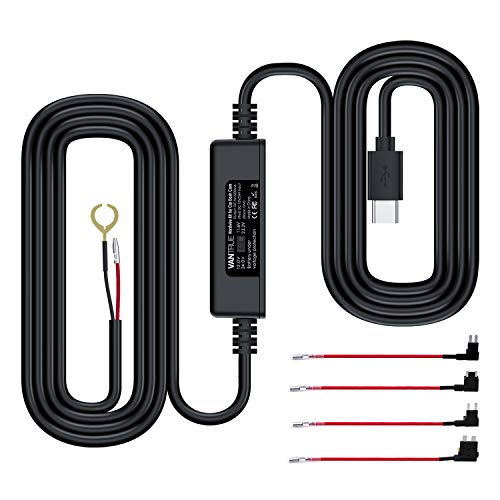 VANTRUE Einstellbares USB-C Hardwire Kit mit 2 Stufen für N4/ N2S/ T3 Dashcam, 12V/24V zu 5V, Sicherungshalter mit Niederspannungsschutz, 24Std. Parküberwachung, kompatibel mit Anderer USB-C Dash Cam