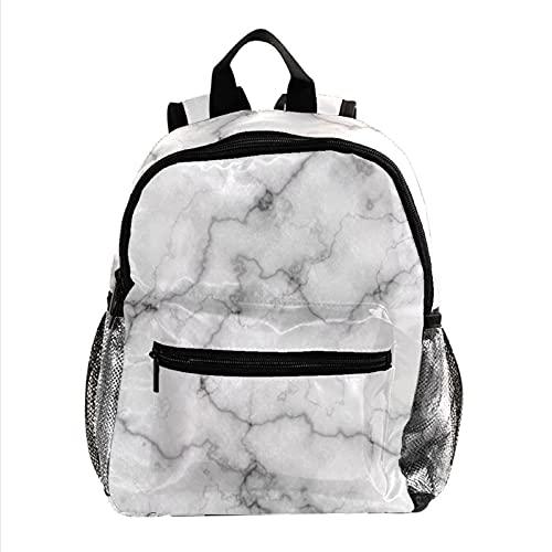 Rucksäcke für Kinder Marmor grauweiß Kinderrucksack Farbe drucken Schultasche Wasserdicht für Kindergarten Vorschule Alter 3-8 Jahre alt 25.4x10x30CM