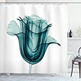 Ambesonne Flower Shower Curtain, X-ray Image of a Rose Flower Romance Creative Nature Picture Print, Cloth Fabric Bathroom Decor Set with Hooks, 70' Long, Teal White