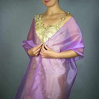 Stole donna organza lilla viola scialli vestito da sposa nuziale poncho bronzo