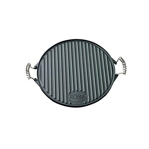 RÖSLE Grillplatte rund, emailliertes Gusseisen matt, schwarz, 52 x 40 x 2 cm, 6 kg, bewegliche Griffe, beidseitig verwendbar
