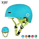 XJD ヘルメット こども用 【更新版】キッズヘルメット 子供 幼児 ハードシェル 軽量 通気性 スポーツヘルメット 自転車 サイクリング 通学 スキー スケートボード 保護用ヘルメット (ブルー, M(55m-58cm))