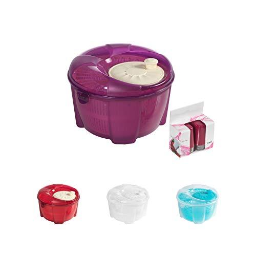 Mabel Home Salatschleuder, Salatschleuder, Salatschleuder und Mixer, 5,5 l, Gemüseschleuder, extra Salz- und Pfefferstreuer, Violett