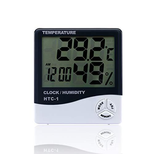 Ballylelly HTC-1 Sala interior LCD Temperatura electrónica Medidor de humedad Termómetro digital Higrómetro Estación meteorológica Reloj despertador